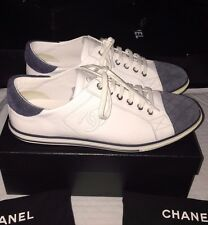 New CHANEL CC Logo White Leather Blue Suede Quilted Lace Up Kicks Sneakers Flats