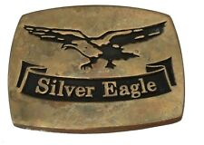 Vtg Solid Bronze Silver Eagle Belt Buckle Bird Hunting Shooting Wings Western