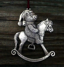 Baby's First Christmas Teddy Bear & His Rocking Horse Pewter Christmas Ornament
