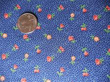 Bty Vip Cranston Vintage Cotton Blue Orange Gold Calico Flowers Quilt Fabric