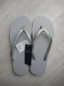 BNWT Hollister UK 5 6 Flip Flops Sandals Grey Foam