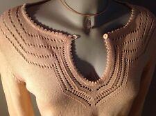 Feinstrick Tunika Pullover Ramie / Cotton Nude Puder Crochet S / 36