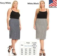 Plus Size Striped Print A Line Form Fitting Kinit Pencil Skirt XL 2XL 3XL