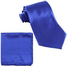 New Polyester Men's Neck Tie & Pocket Square Hankie Set Shiny Finish Royal Blue