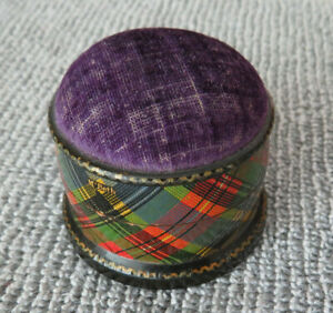 Antique Mauchline McBeth Tartanware Pin Box with Pincusion