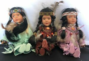 Three Vintage Beautiful Fine Porcelain Collectors Indian Dolls