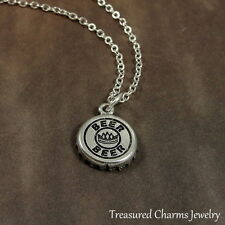 Silver Beer Cap Charm Necklace - Bartender Alcoholic Beverage Jewelry NEW