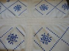 alte Tischdecke Mitteldecke Leinen weiß blaue Stickerei Handarbeit 90x90 Spitze