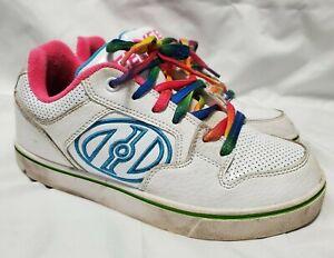 Heelys Youth Sz 4 White Rainbow Style Tennis Shoes Motion Plus #770997