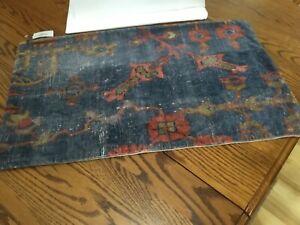 Pottery Barn 16x26 inches Dara Velvet Velour Lumbar Pillow Cover Blue/Multi NWOT