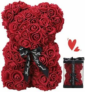 Red Wine Rose Bear Valentine Gifts Bear Rose Flowers with Gift Box Room Decor