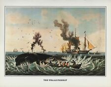 "1978 Vintage ""THE WHALE FISHERY"" FISHING WHALING CURRIER & IVES COLOR Lithograph"