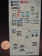 DECALS 1/43 LOGOS PUB F1 PDVSA / AMD / RANDSTAD / TELMEX / INFINITI / ACER  T393