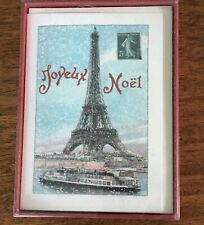 Christmas Note Cards Joyeux Noel Eiffel Tower Paris Glitter Cavallini & Co 2008