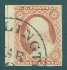 US 1853 Washington 3c dull red - Type II - Position 31R2L Scott # 11A used VF-XF