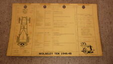 OLD 1960s SHELL OIL Co CAR SERVICE & LUBE CHART, WOLSELEY TEN 1946