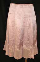 CHIC Gianni Bini Lavender Embroidered Floral Hem Silk Flowing Day to Eve Skirt 4