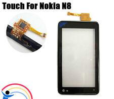 Kit VETRO+ TOUCH SCREEN per NOKIA N8 display Vetrino+frame Cover NERO Nuovo
