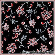 BonEful Fabric Cotton Quilt Black White B&W Gray Red Flower Leaf Dot Xmas SCRAP