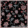 BonEful Fabric FQ Cotton Quilt Black White B&W Gray Red Flower Heart Dot Calico