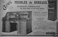 PUBLICITÉ 1909 COSMOS MEUBLES DE BUREAUX CLASSEURS A RIDEAU - ADVERTISING