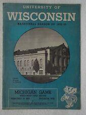 Vintage 1953 BADGERS vs MICHIGAN College BASKETBALL PROGRAM University WISCONSIN