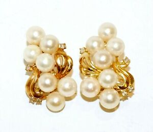 Pair Vintage 14k Yellow Gold Pearl Cluster Earrings & 8x Diamond Accents(GoH)#17