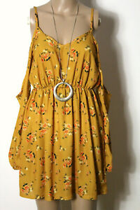MISSGUIDED Kleid Gr. 34 gelb mit orange-grünen Blumen Mini Träger Kleid