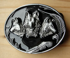 Gürtel Gürtelschnalle Wölfe Wolf schwarz lackiert Buckle Pewter  RB.2