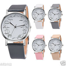 OKTIME Fashion Men's Women's Cartoon Cat Pattern Leather Band Quartz Wrist Watch