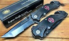 Pocket Knife with Seatbelt Cutter & Glass Breaker Thock Stainless Steel 8.5 Inch