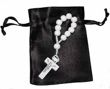 White Wooden Single Decade Catholic Rosary Ring with FREE Black Satin Gift Bag