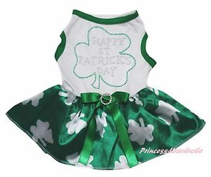 Happy St Patrick Day White Cotton Top Clover Green Skirt Pet Dog Puppy Cat Dress