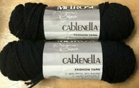 Melrose Cablenella Yarn Jet Black Two Skeins Wool Rayon Moth Proof New