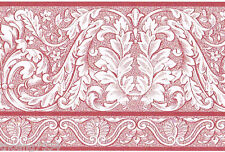 Victorian Damask Red White Toile Scroll Acanthus Leaf Wall paper Border