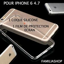 Housse étui pochette coque transparent souple gel silicone iphone 6 4.7 + film