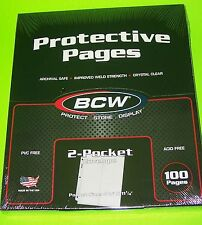 100 PRO 2-POCKET #10 ENVELOPE PAGES, FOR COVERS, PHOTOS, COUPONS, ETC. BY BCW