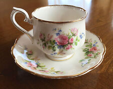 Royal Albert Pastel Pink Moss Rose (England) Bone China Set Footed Cup Saucer