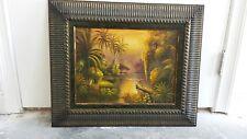 Art nouveau, US Botanical Original painting of everglades landscape, unsigned