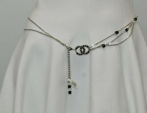 NEW in BOX  Chanel Chain CC Logo Silver Belt Suit Black Crystals Necklace 85 95