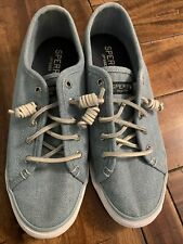 Sperry Women's Top Sider Canvas Tennis Boat Shoes Leather Laces Blue Size 9M