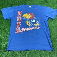 Vintage 80's Kansas Jayhawks Size Large Artex T Shirt Blue Short Sleeve Graphic