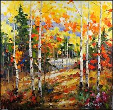 Signed Impressionist Elegant Forest Landscape Original Oil Painting On Canvas