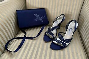 Clio Bond Street Designer Shoes And Matching Bag Navy Size 37/UK 4 Party Wedding