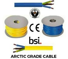 10m or 40m Masterplug Yellow Flexible Cable 1.25mm² 3 Core Flex Extension Camp