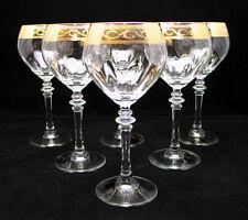 "SET of 6 Italian Crystal Wine Water Glasses, 24K Gold Rimmed Trim, 10 Oz. 7.5""H"