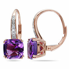 Amour 10k Rose Gold Amethyst and Diamond Accent Dangle Leverback Earrings
