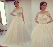 2017New Romantic Lace Bridal Gown Vintage Satin Half Sleeve Wedding Dress A Line