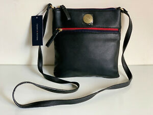 NEW! TOMMY HILFIGER BLACK LEATHER MESSENGER CROSSBODY SLING BAG PURSE $69 SALE