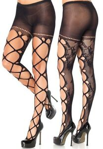 Black Floral Lace Tights W/Cut Out Front Detail, Gothic, Emo, Punk Rocker, Sexy